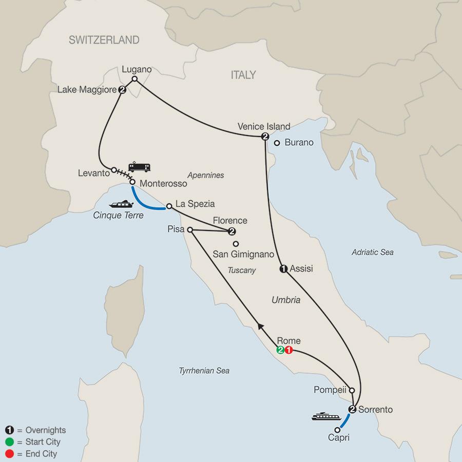 Itinerary map of Italian Mosaic