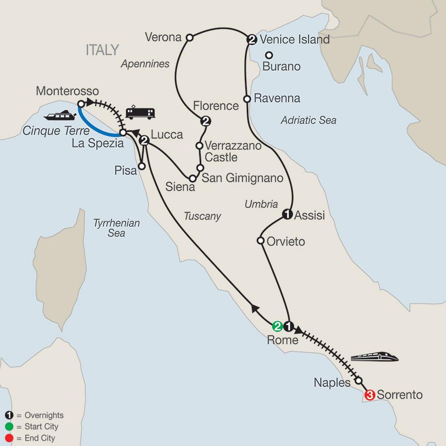 Itinerary map of ITALIAN TREASURES WITH SORRENTO