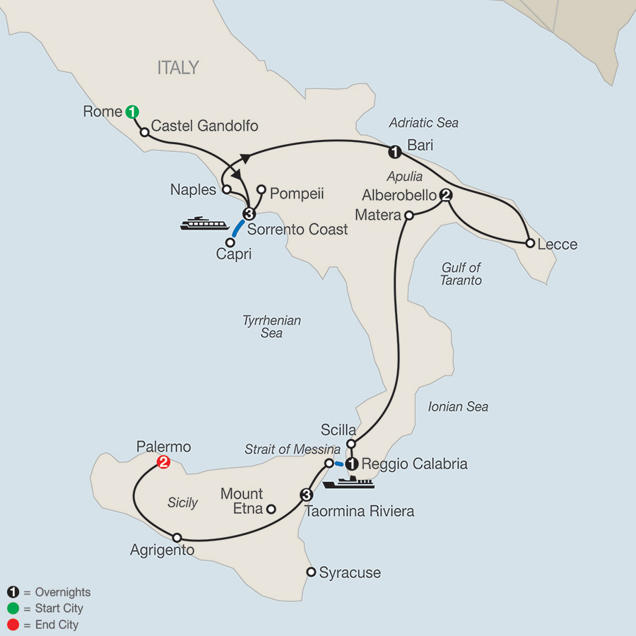 Itinerary map of Highlights Of Sicily & Southern Italy