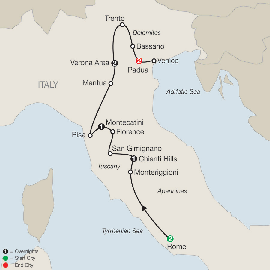 Itinerary map of Italian Sampler 2018 from Rome to Padua