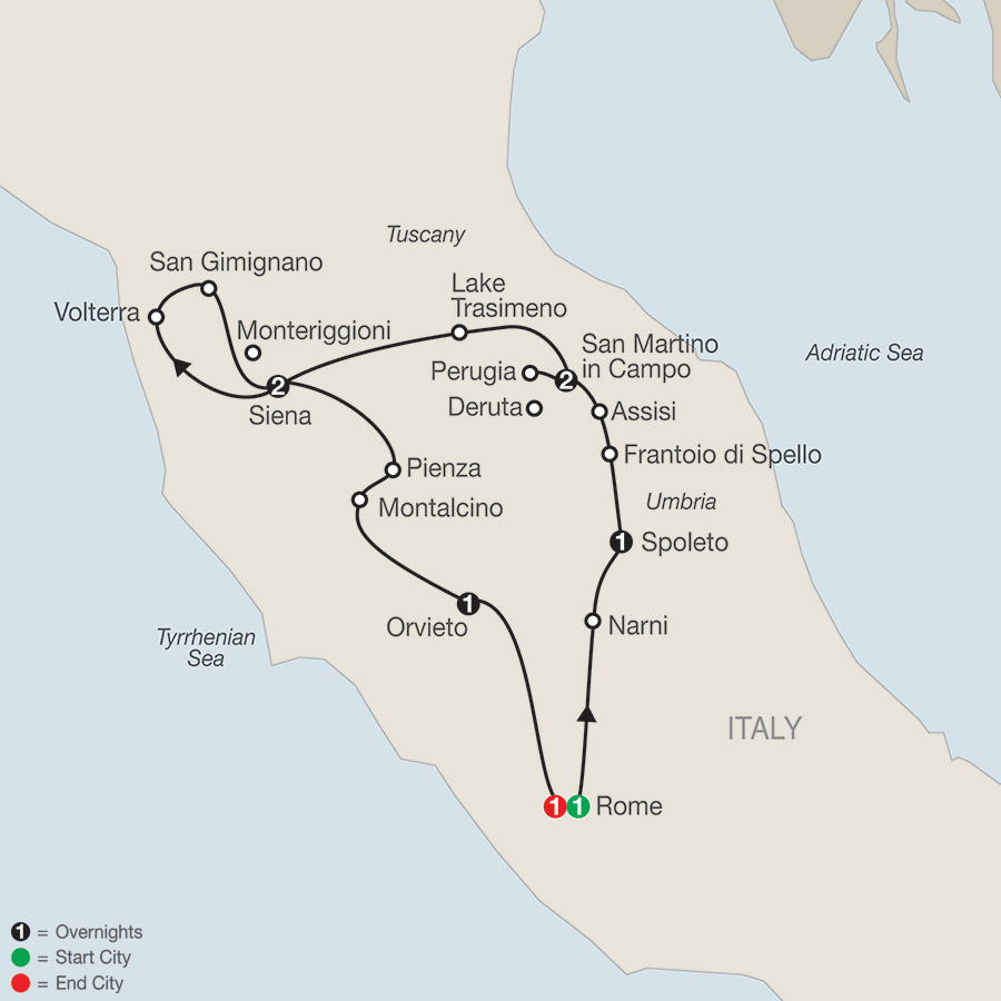 Itinerary map of GEMS OF UMBRIA & TUSCANY