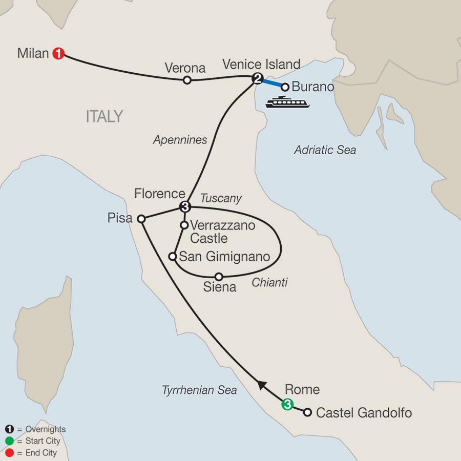 Itinerary map of Italian Highlights