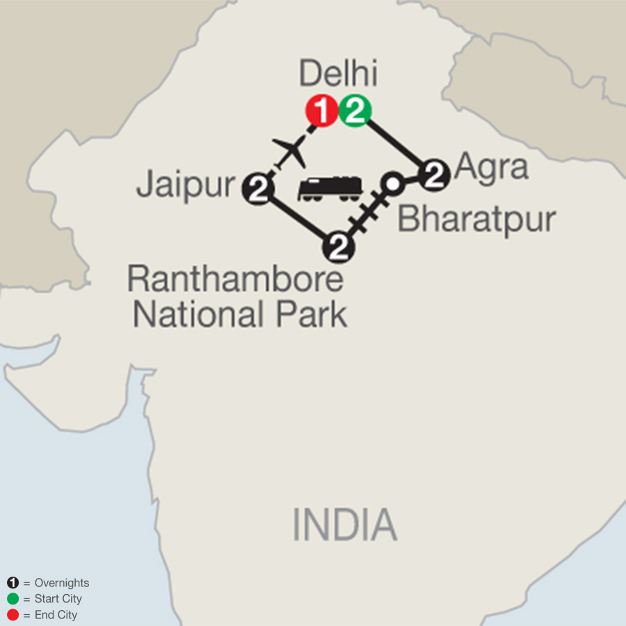 Itinerary map of Icons of India: The Taj, Tigers & Beyond 2018 from Delhi to Delhi