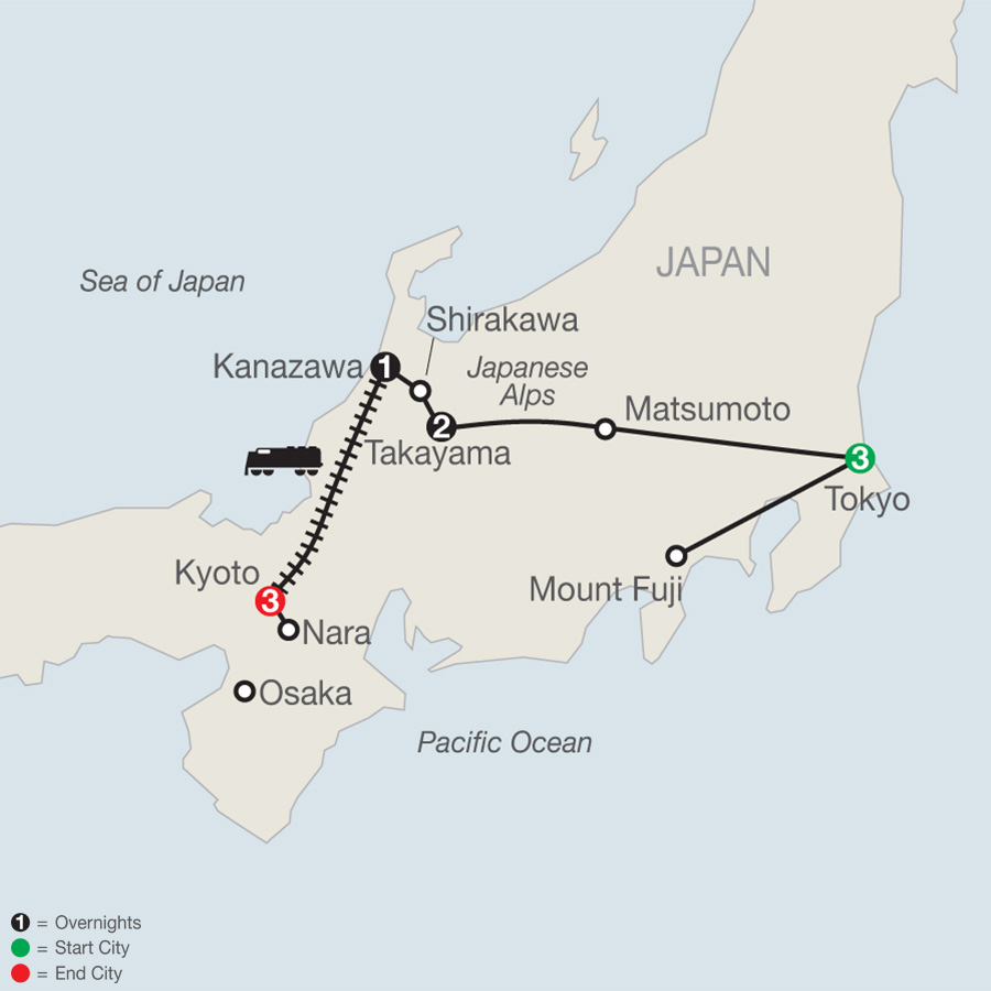 Itinerary map of Discover Japan 2018 from Tokyo to Kyoto