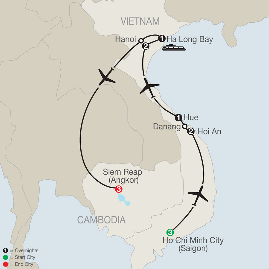Itinerary map of Exploring Vietnam & Cambodia 2018 from Ho Chi Minh City to Siem Reap