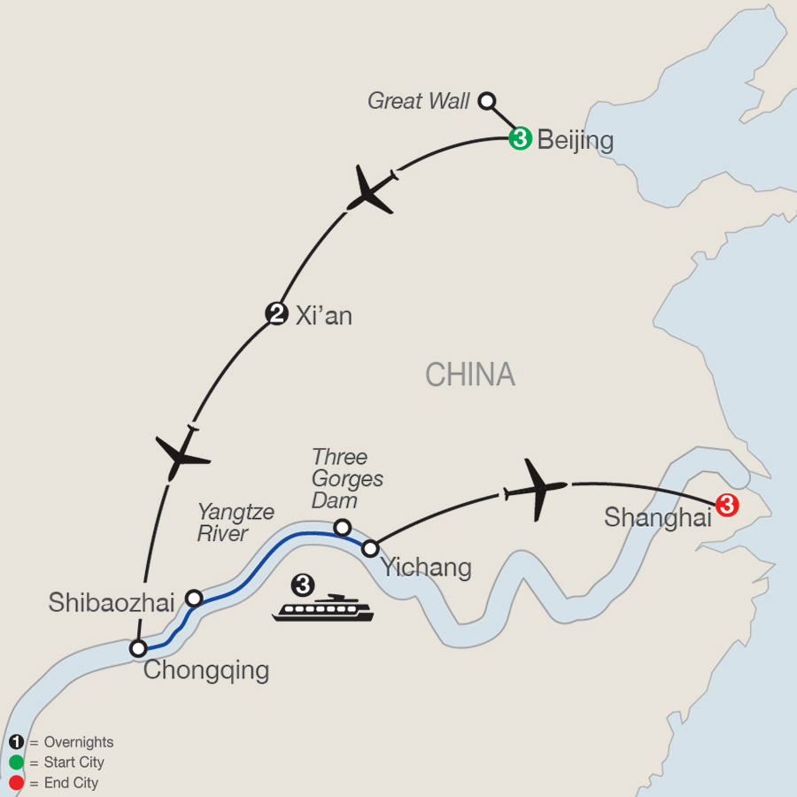 Itinerary map of Classic China & the Yangtze River 2018 from Beijing to Shanghai
