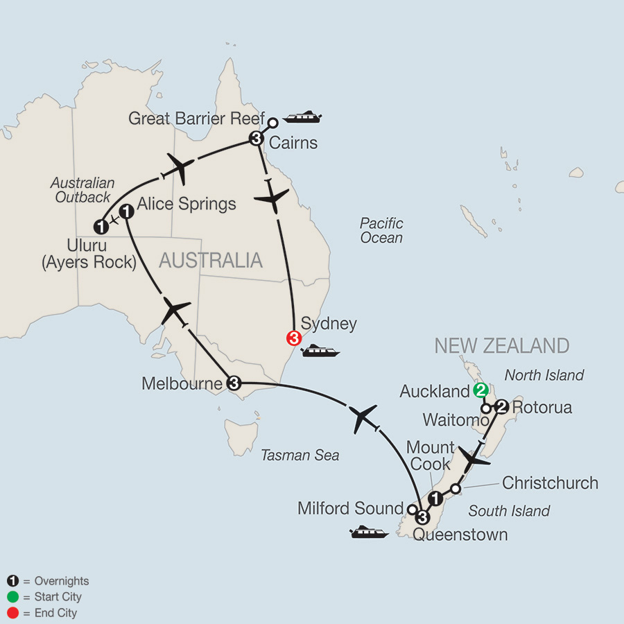 Itinerary map of Down Under Discovery 2018 from Auckland to Sydney