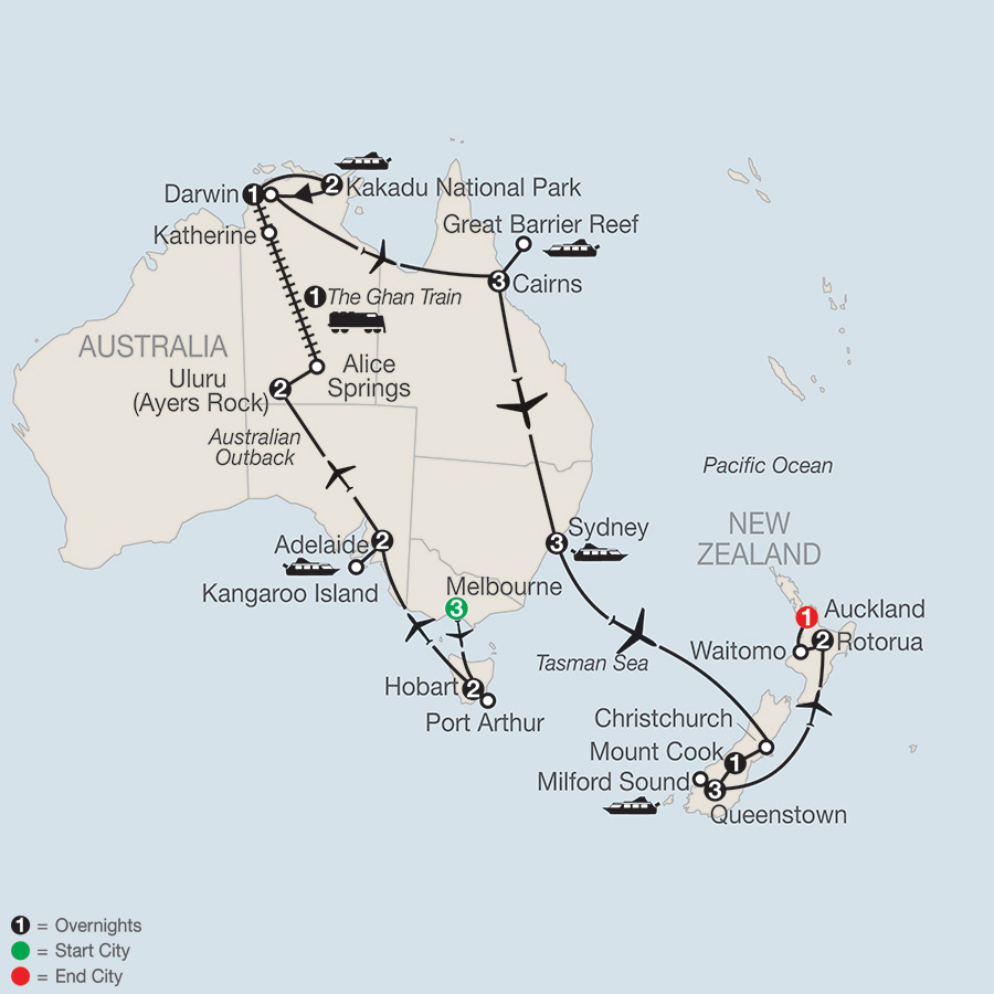 Itinerary map of Great Adventure Down Under 2018 from Melbourne to Auckland