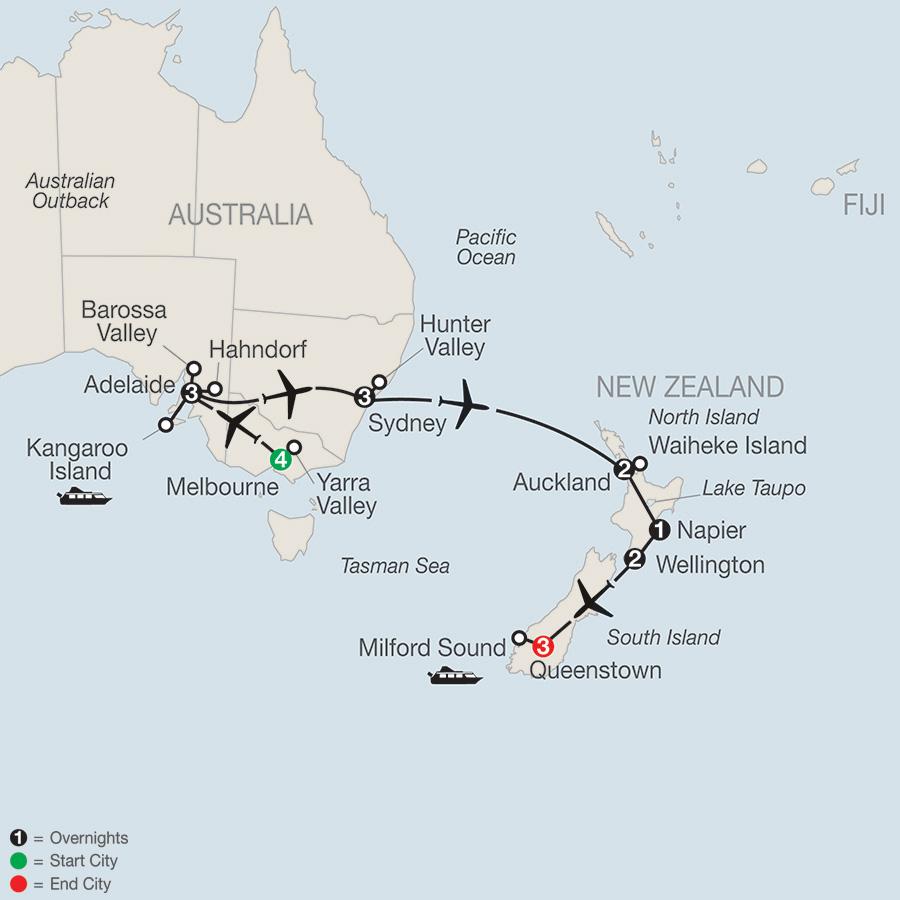 Itinerary map of Wine of Australia & New Zealand