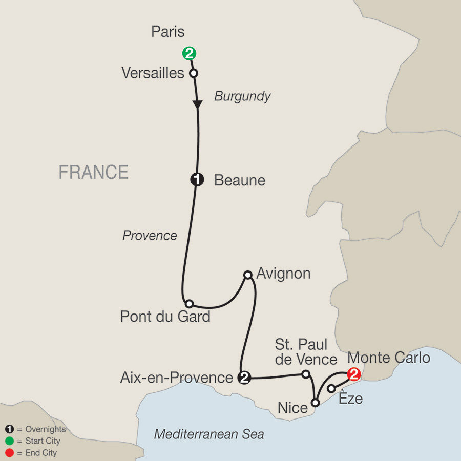 Itinerary map of FRENCH SAMPLER