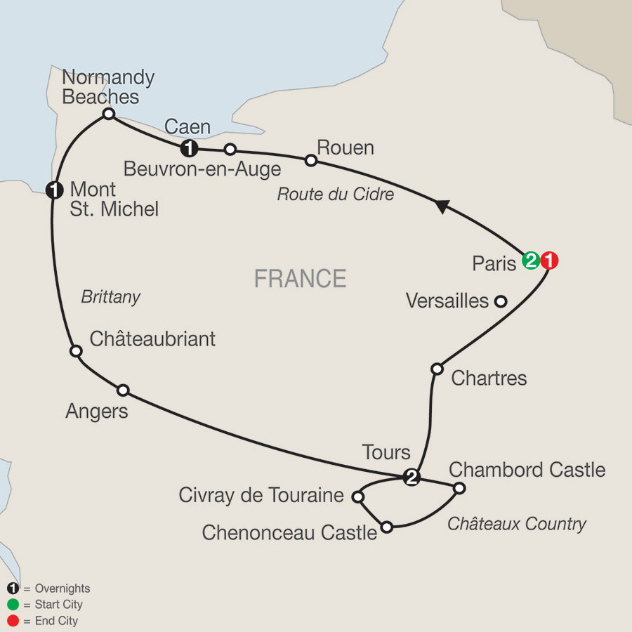 Itinerary map of Normandy, Brittany & Chateaux Country