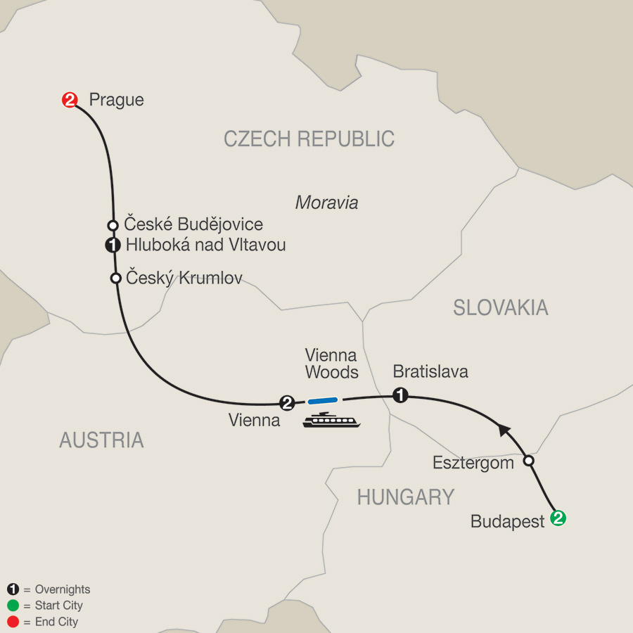 Itinerary map of Bohemian Dream 2018 from Budapest to Prague