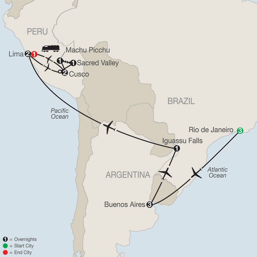 Itinerary map of SPIRIT OF SOUTH AMERICA