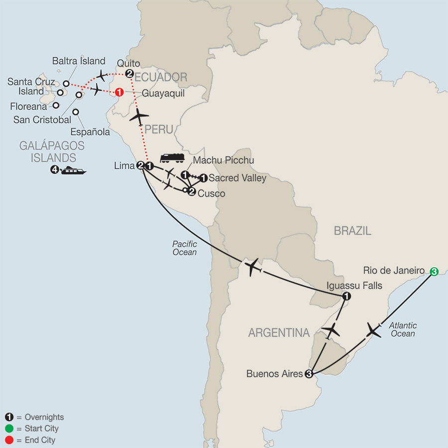 Itinerary map of SPIRIT OF SOUTH AMERICA WITH GALAPAGOS CRUISE