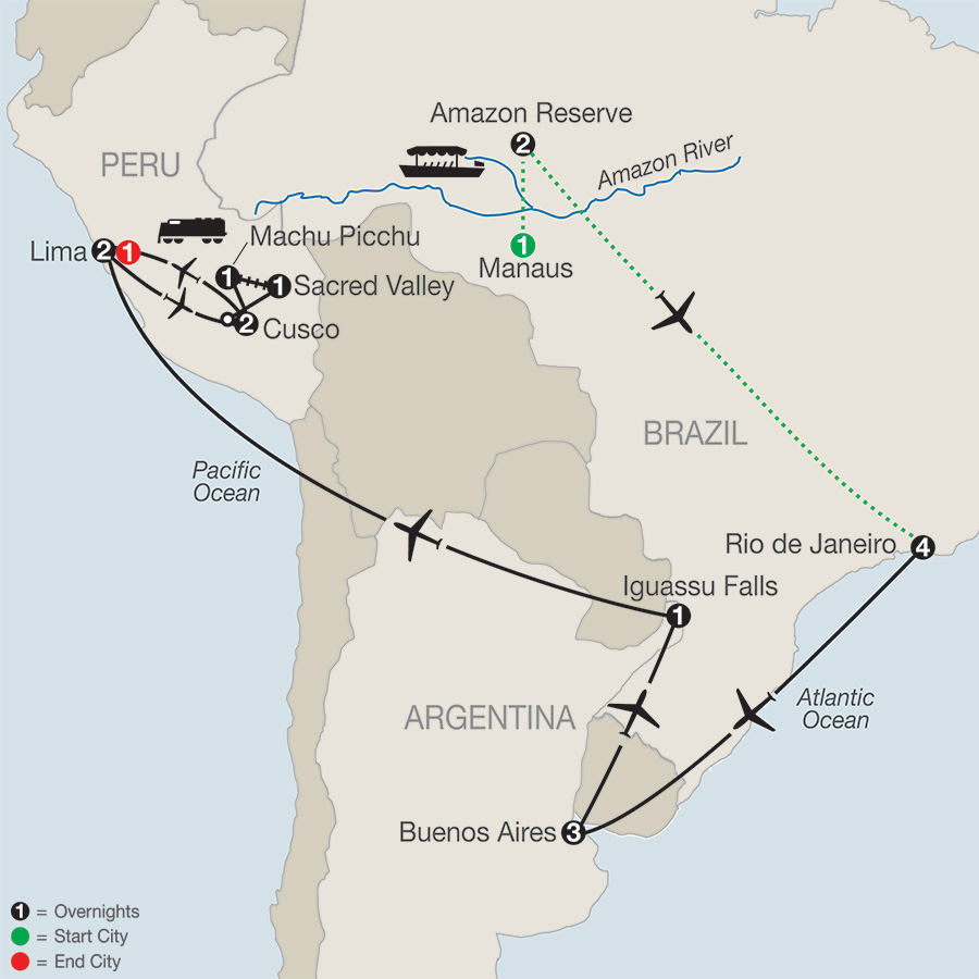 Itinerary map of SPIRIT OF SOUTH AMERICA WITH AMAZON