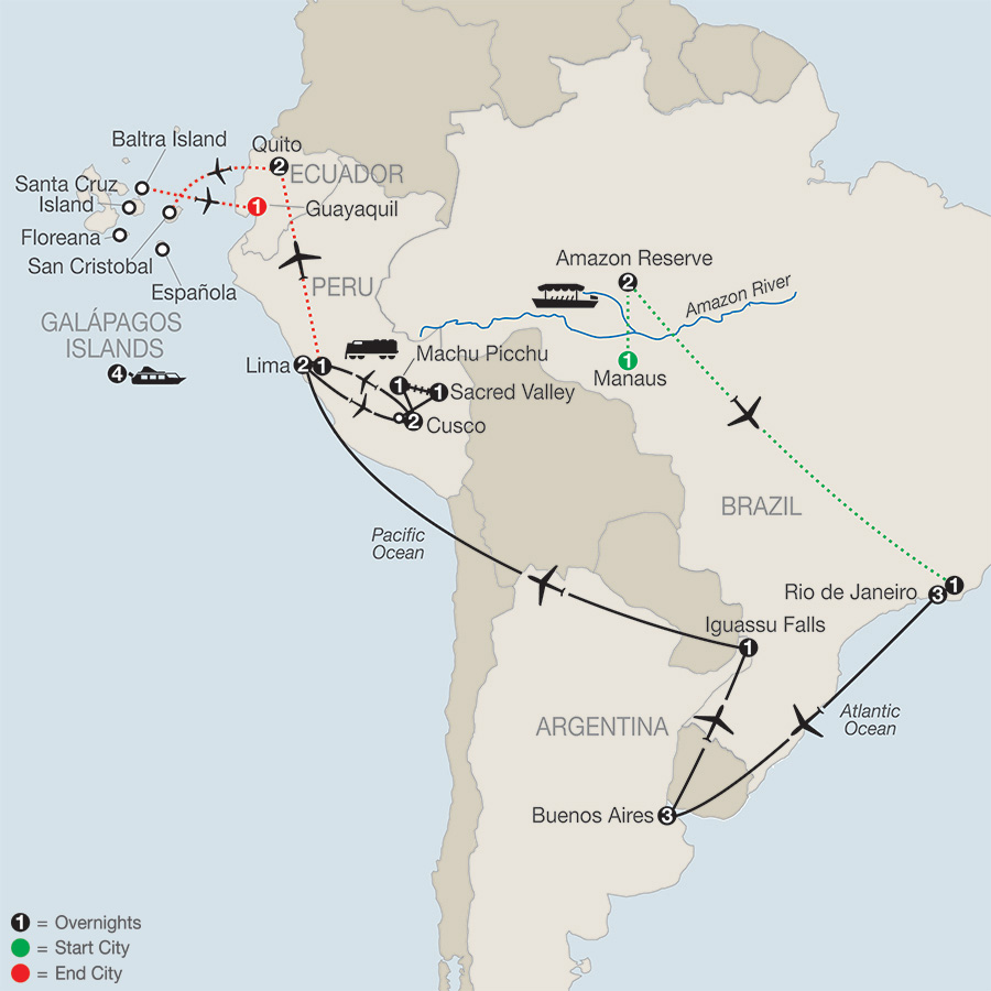 Itinerary map of SPIRIT OF SOUTH AMERICA WITH AMAZON & GALAPAGOS CRUISE