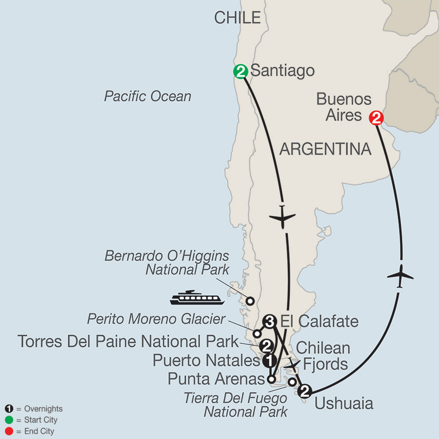 Itinerary map of Patagonia: Journey to the End of the World 2018 from Santiago to Buenos Aires