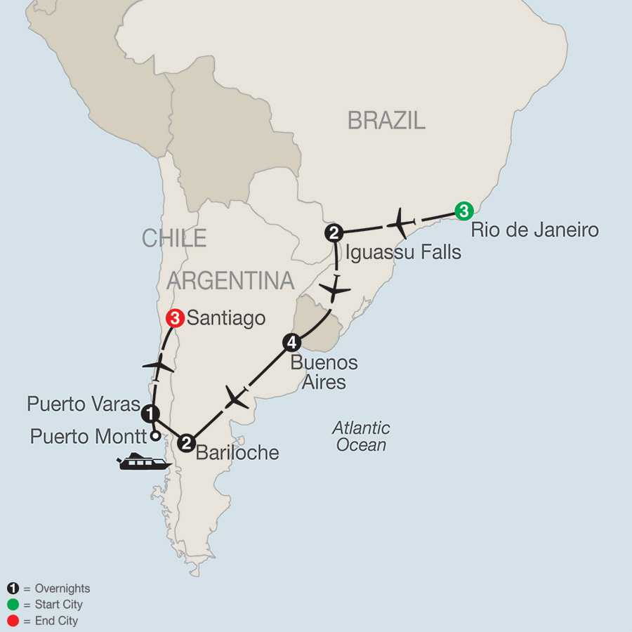 Itinerary map of South American Odyssey