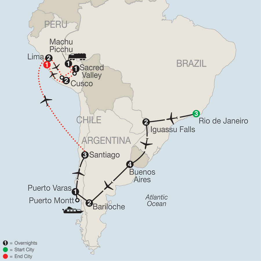 Itinerary map of SOUTH AMERICAN ODYSSEY WITH PERU