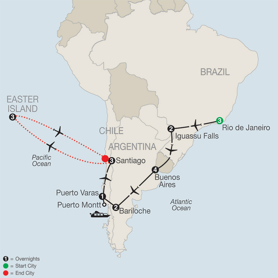 Itinerary map of SOUTH AMERICAN ODYSSEY WITH EASTER ISLAND
