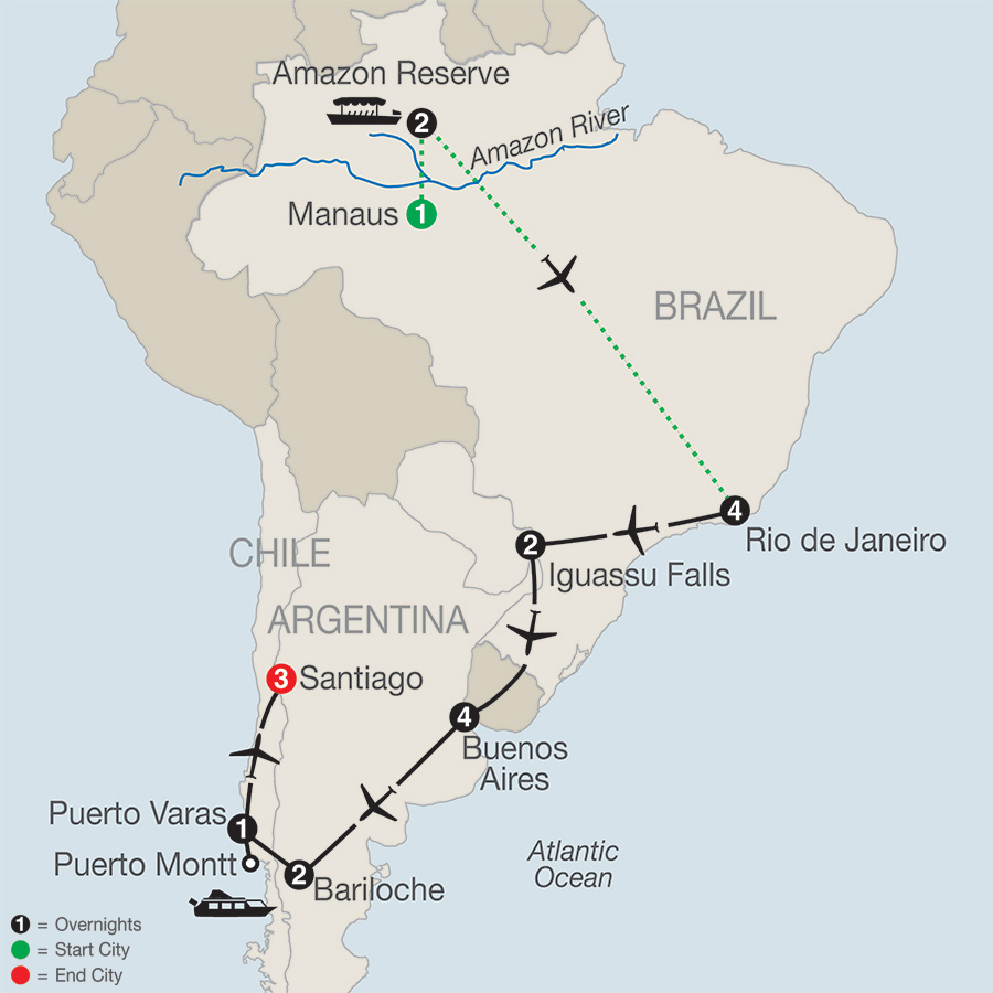 Itinerary map of SOUTH AMERICAN ODYSSEY WITH AMAZON