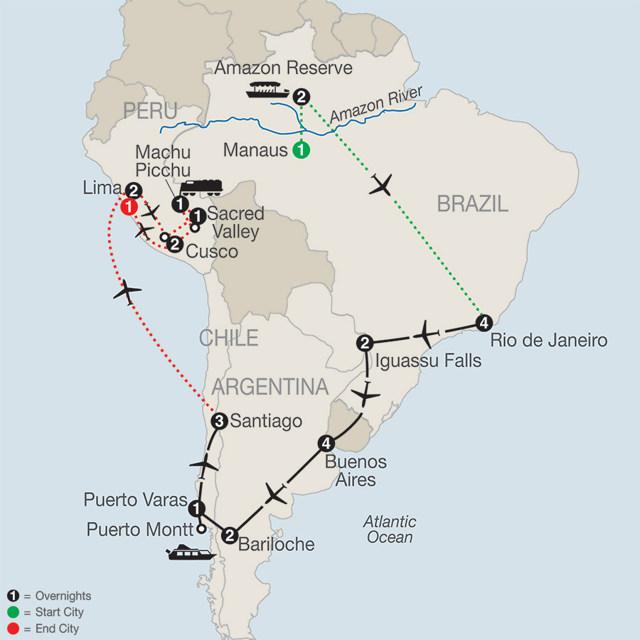 Itinerary map of SOUTH AMERICAN ODYSSEY WITH AMAZON & PERU