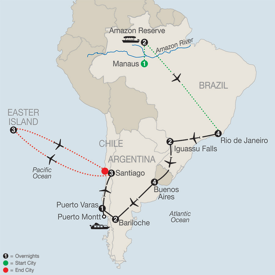 Itinerary map of SOUTH AMERICAN ODYSSEY WITH AMAZON & EASTER ISLAND