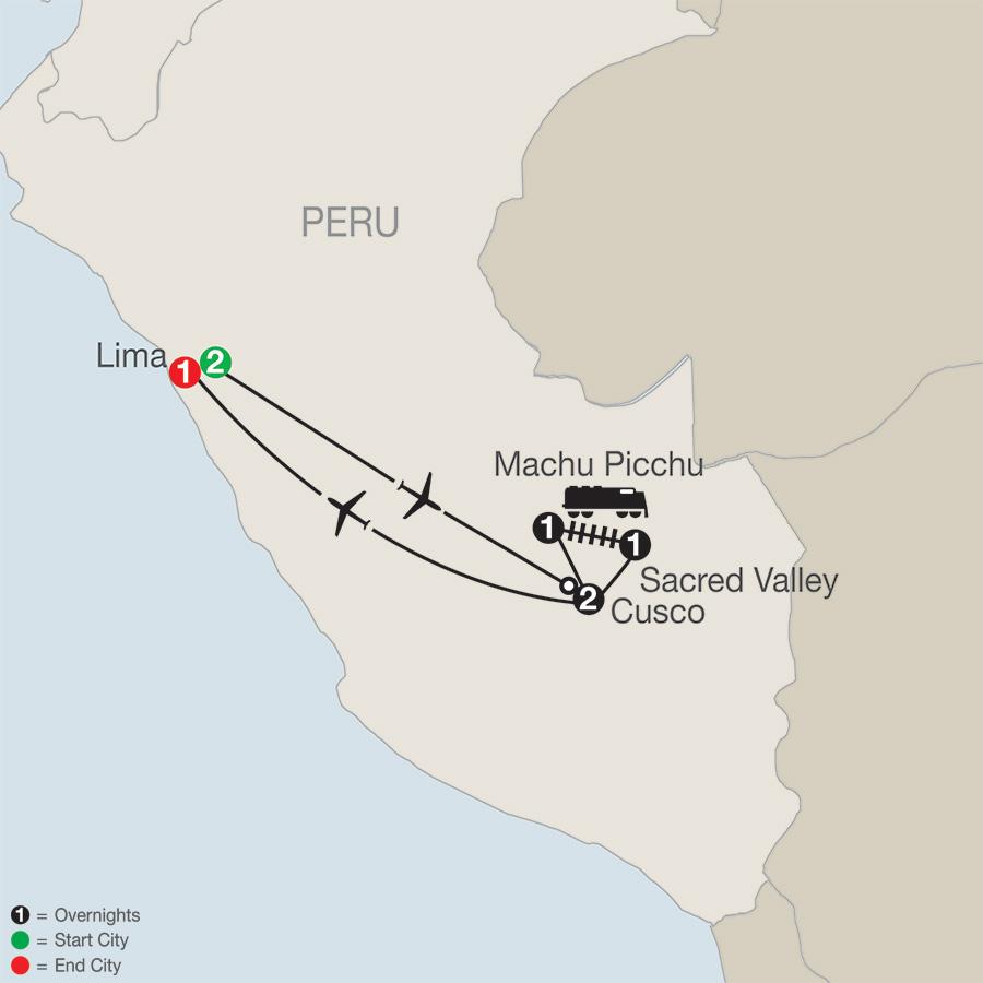 Itinerary map of PERU SPLENDORS