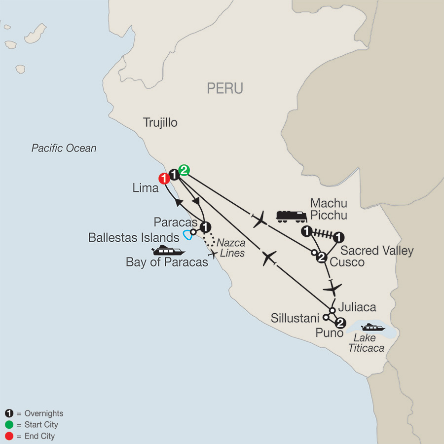 Itinerary map of Legacy of the Incas 2018 from Lima to Lima