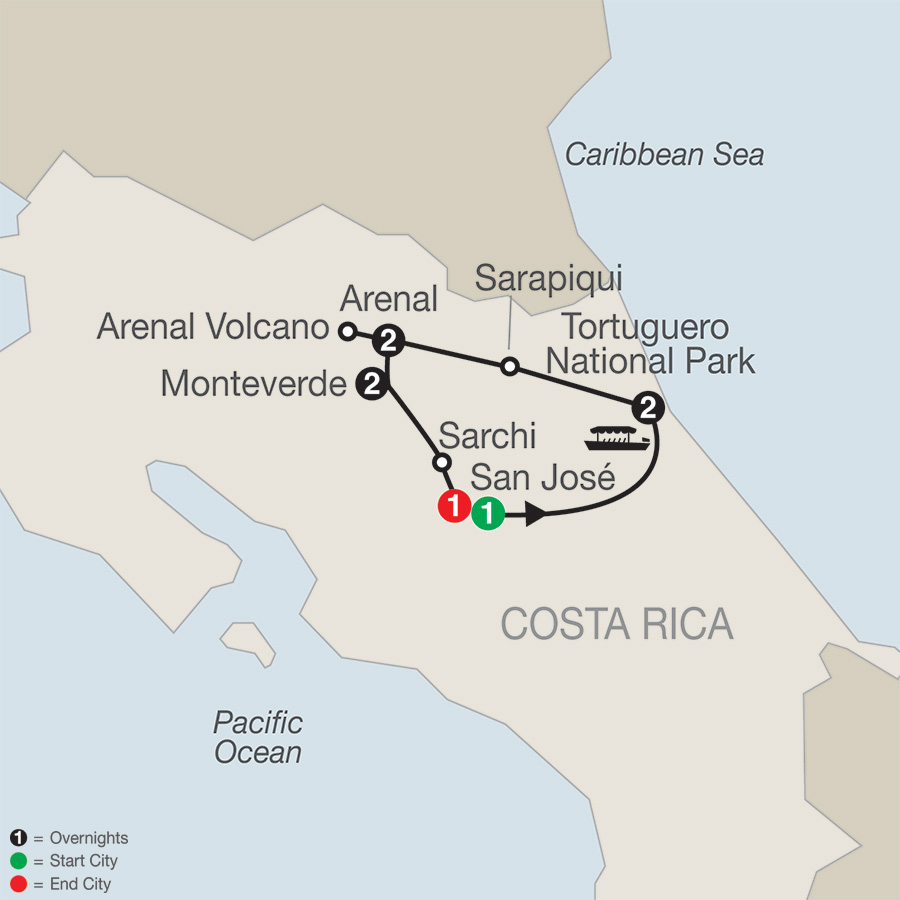 Itinerary map of Natural Wonders of Costa Rica 2018 from San José to San José