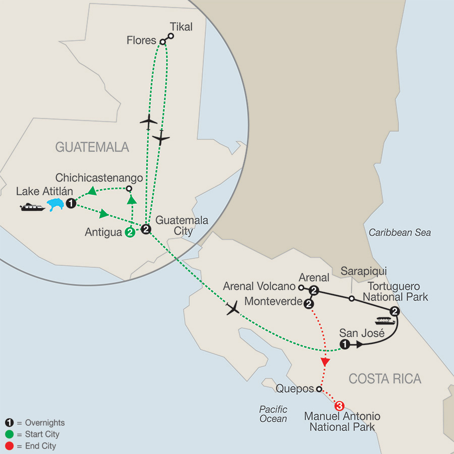 Itinerary map of NATURAL WONDERS OF COSTA RICA WITH GUATEMALA & MANUEL ANTONIO