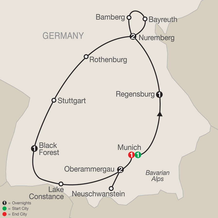 Itinerary map of Bavarian Highlights