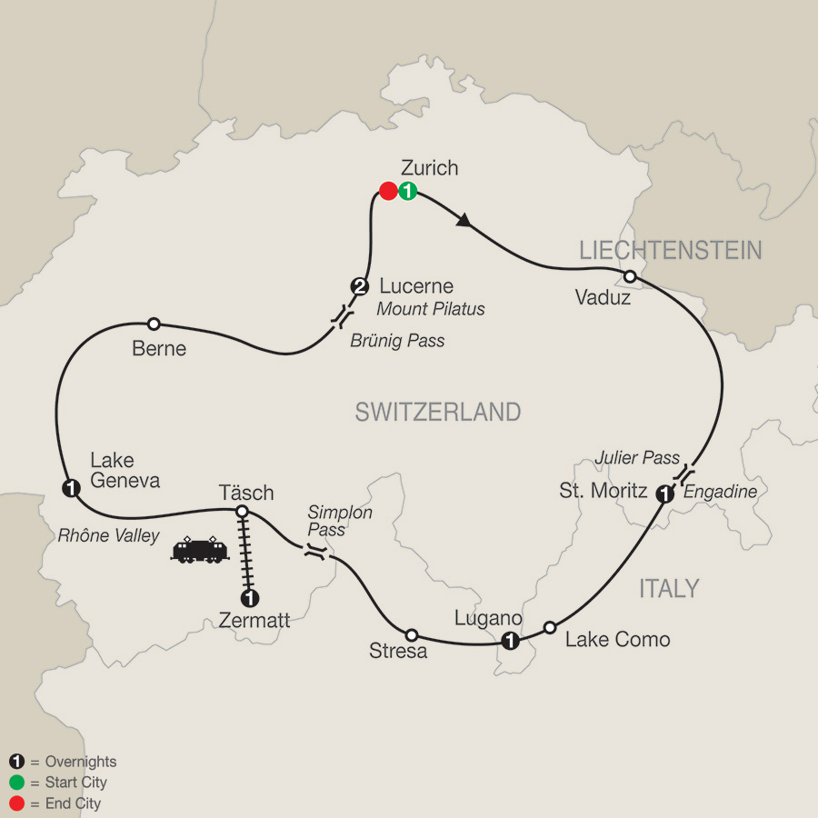 Itinerary map of The Best Of Switzerland