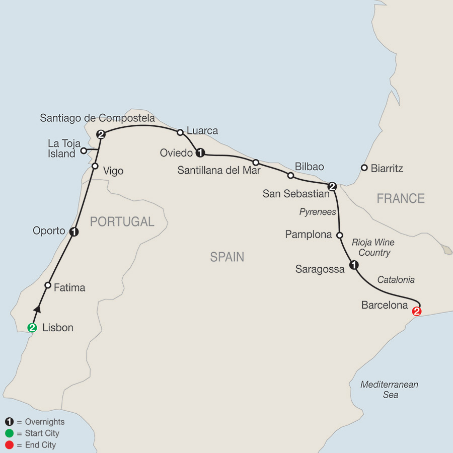 Itinerary map of LISBON & NORTHERN SPAIN