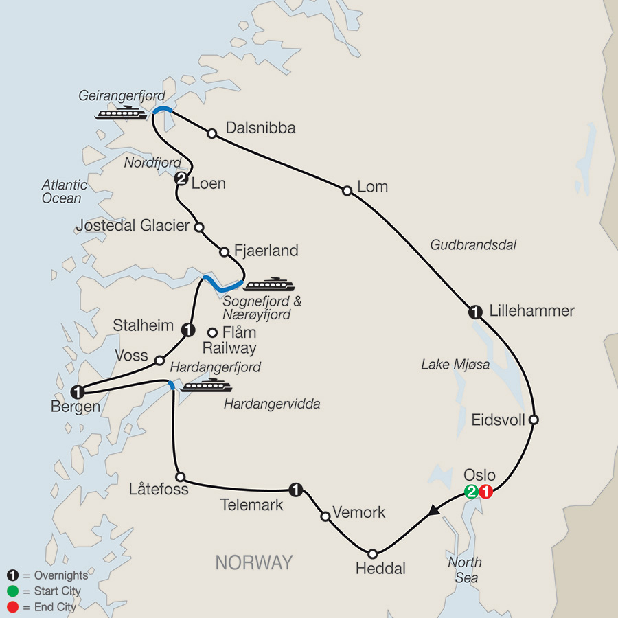 Itinerary map of Scenic Norway