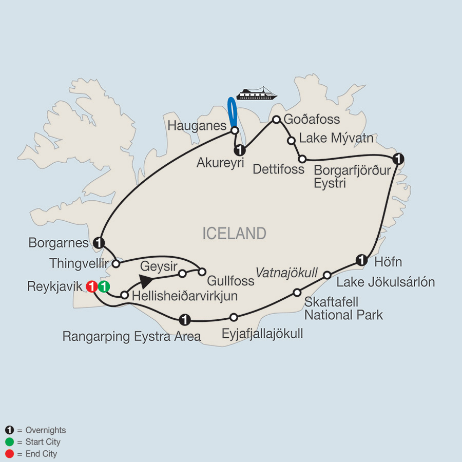Itinerary map of Iceland Adventure