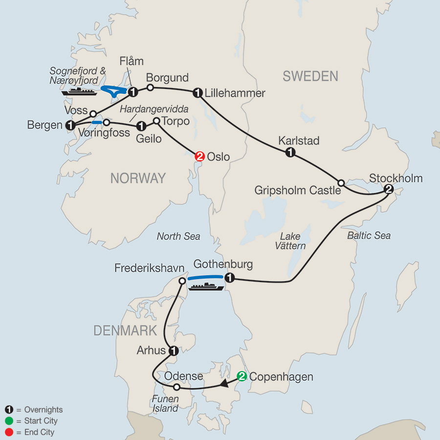 Itinerary map of The Scandinavian 2018 from Copenhagen to Oslo