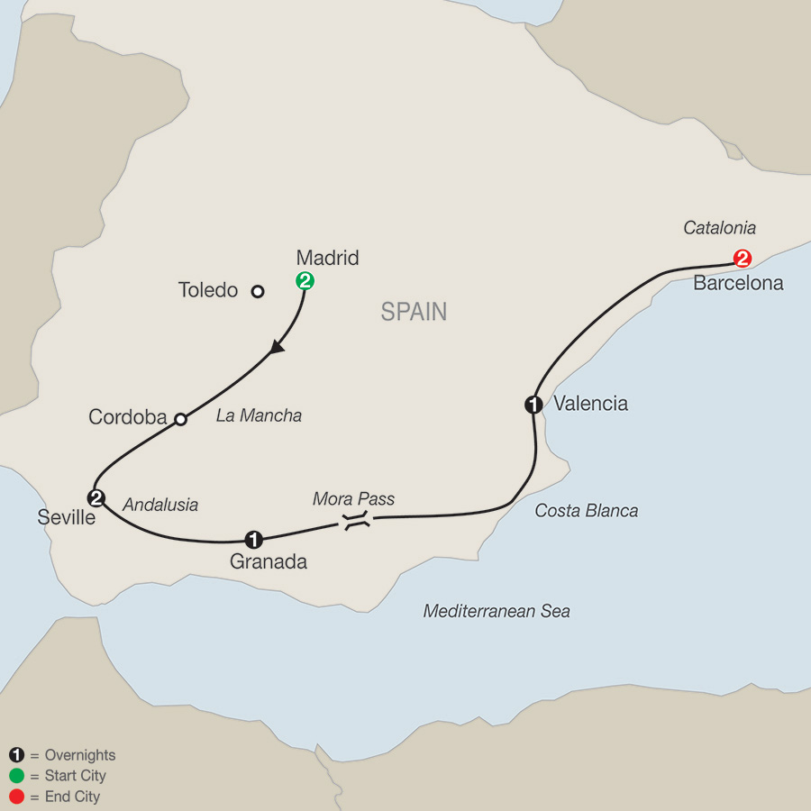 Itinerary map of The Best Of Spain