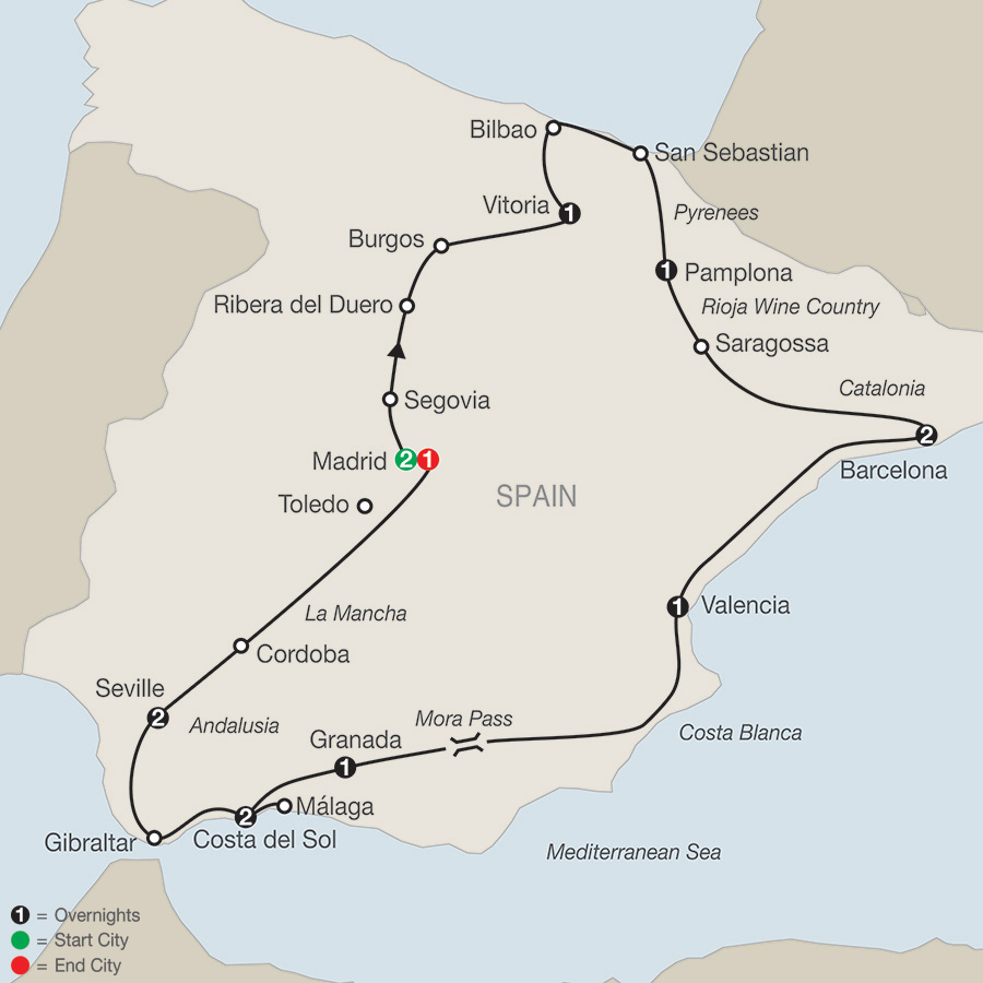 Itinerary map of Spanish Fiesta 2018 from Madrid to Madrid