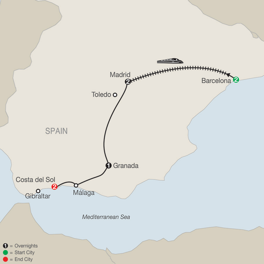 Itinerary map of Spectacular Spain