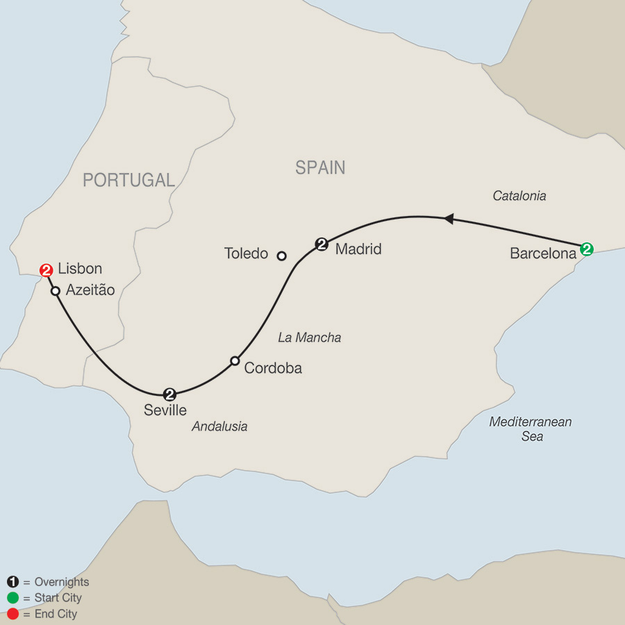 Itinerary map of Iberian Tapestry