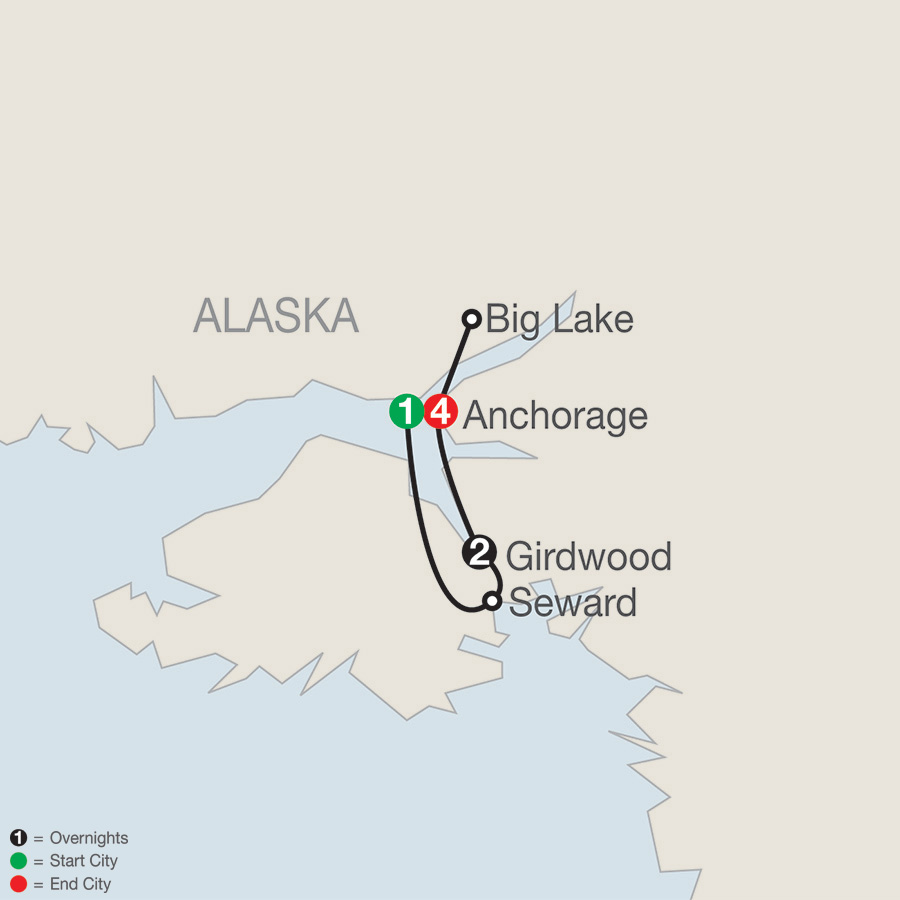 Itinerary map of Alaska