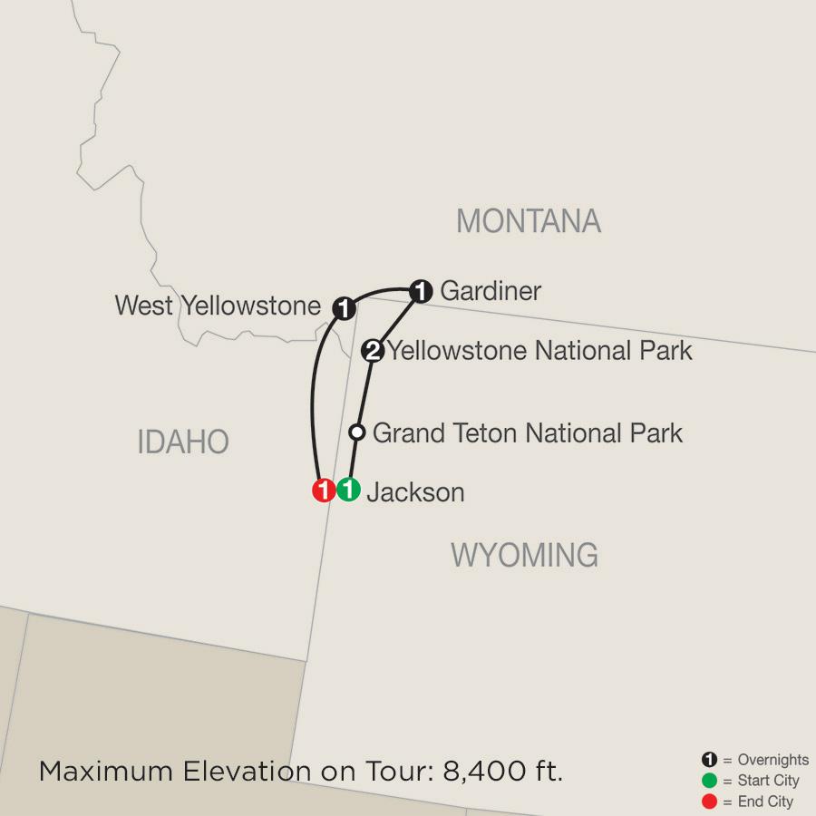 Itinerary map of Yellowstone Winter Wonderland 2019 from Jackson to Jackson