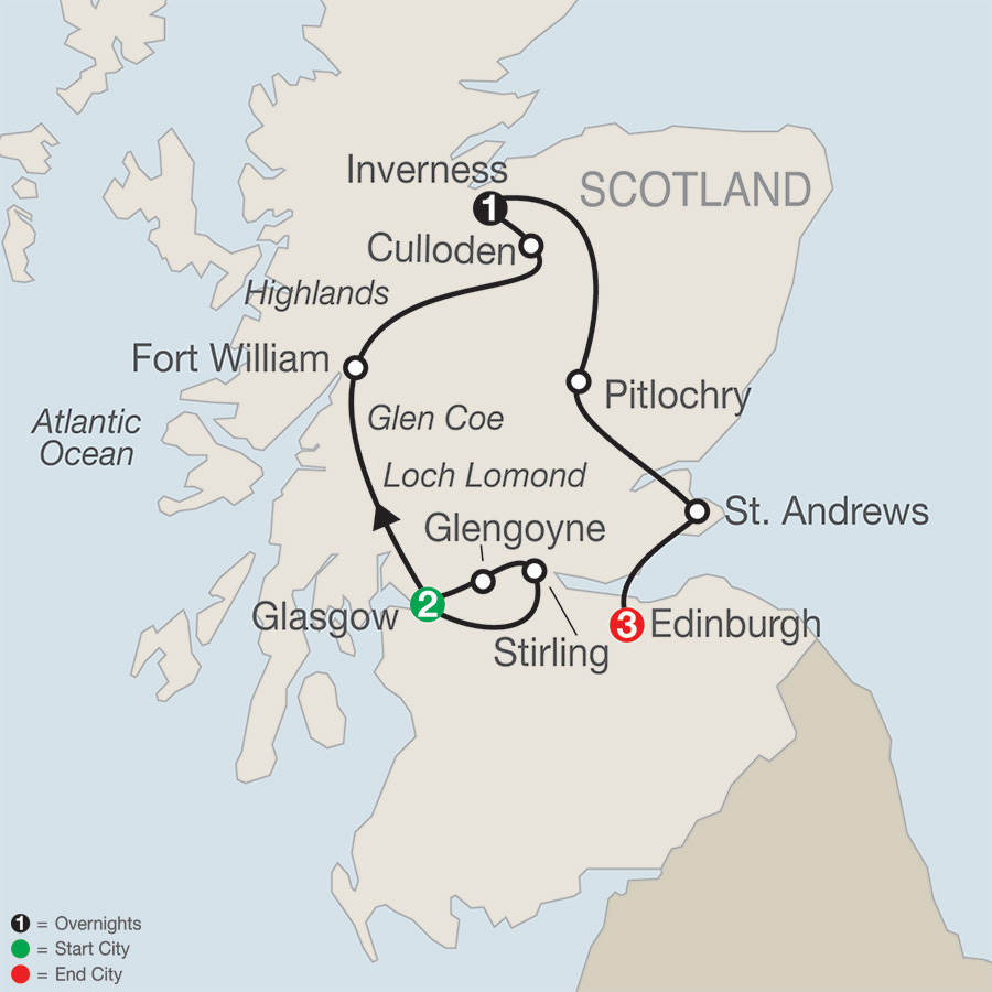 Itinerary map of Scottish Escape 2019 from Glasgow to Edinburgh