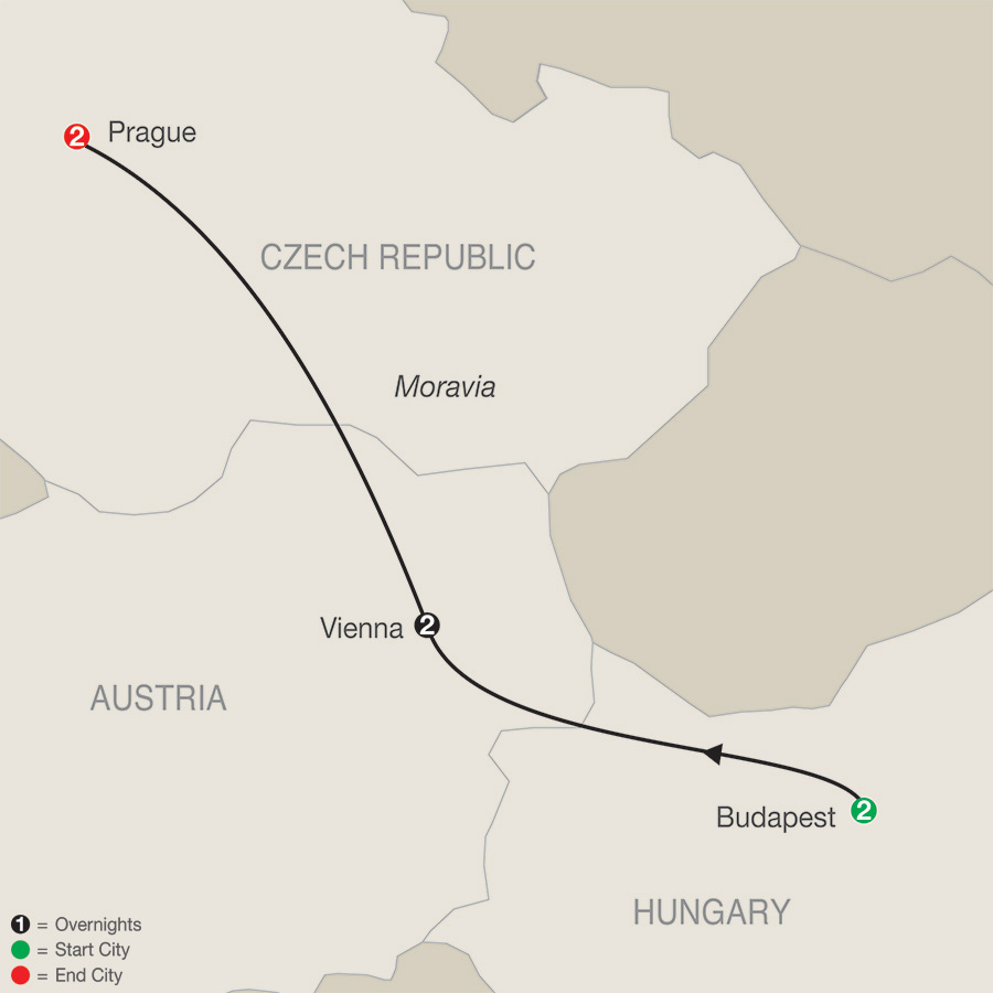 Itinerary map of Imperial Escape 2019 from Budapest to Prague