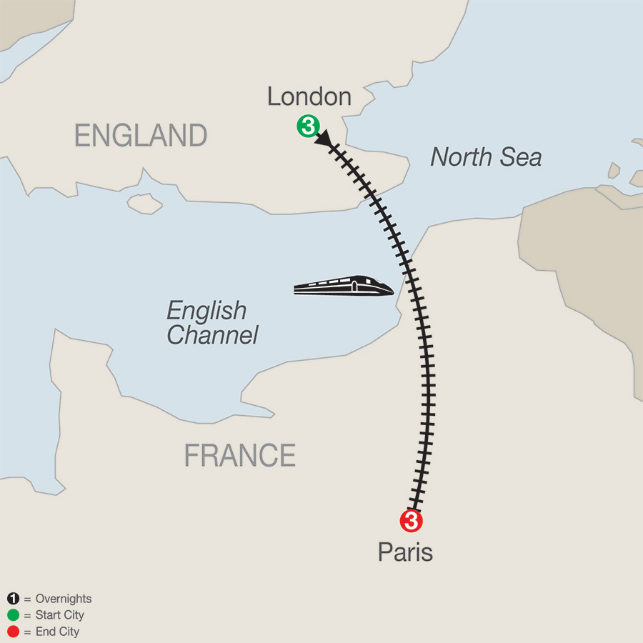 Itinerary map of London & Paris Escape 2019 from London to Paris