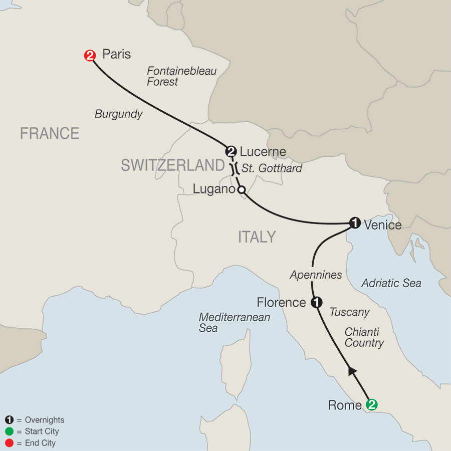 Itinerary map of European Escape 2019 from Rome to Paris
