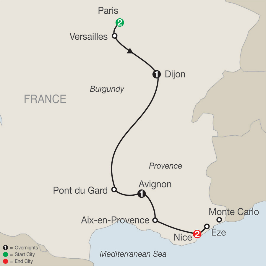 Itinerary map of French Escape 2019 from Paris to Nice