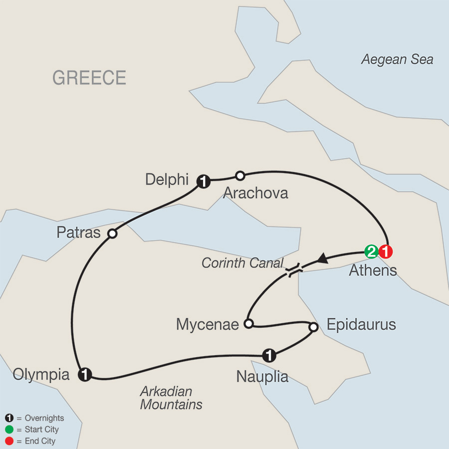 Itinerary map of Greek Escape 2019 from Athens to Athens