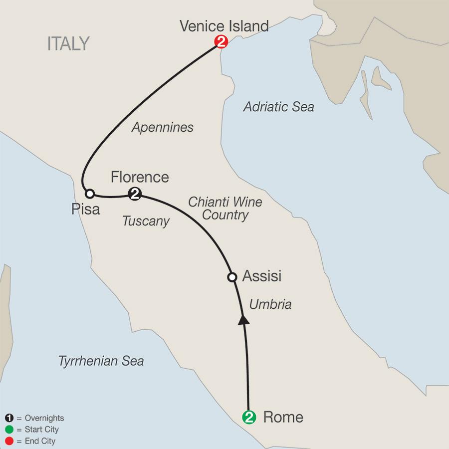 Itinerary map of Italian Escape
